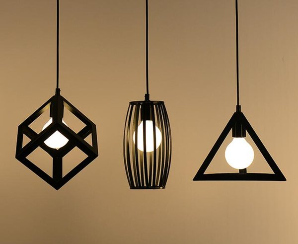 Awesome Iron geometric chandelier dining room lamp three bar bar balcony kitchen Nordic simple modern personality creative For Your House - Best of small lantern pendant light Idea