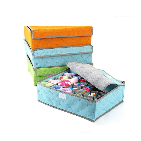 24 Grids Bamboo Charcoal Fiber Storage Box For Bra Socks 35*27*11 Folding Organizer Boxes Underwear Clothing Free Shipping ZA3572