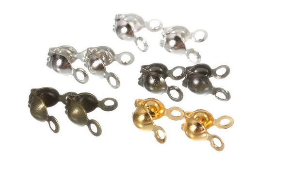 500pcs/lot Gold/Silver/Bronze/Rhodium/Gunblack Connectors Clasps Fitting Dia 3mm Ball Chain Components Jewelry Accessories DIY