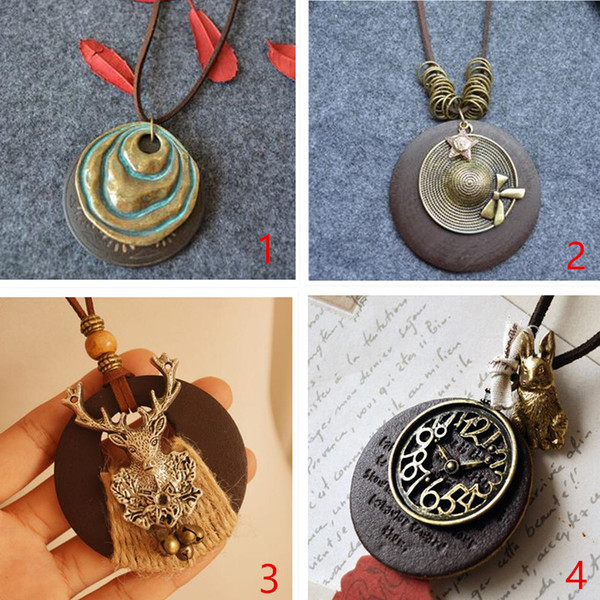2017 4 kinds vintage linen with ornaments national wind wooden Korean simple pendant long necklace sweater chain freeshipping