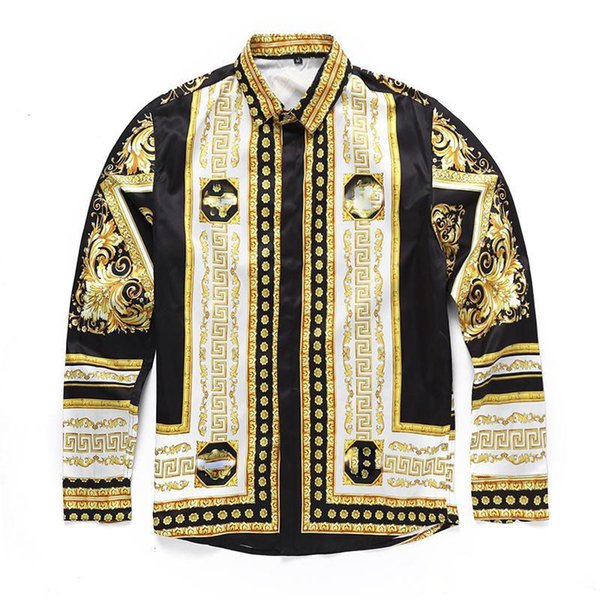 top popular 2019 Italian classic style Medusa Shirt Of pol Floral Print Colors Luxury Casual Harajuku Shirt Long Sleeve Men's Head Medusa Shirt 2019