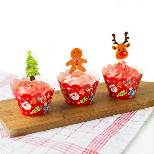 24pcs/lot Christmas Gingerbread Man Elk Cupcake Toppers Picks Cupcake Pick Muffin Cupcake Wrappers and Toppers Party Decoration