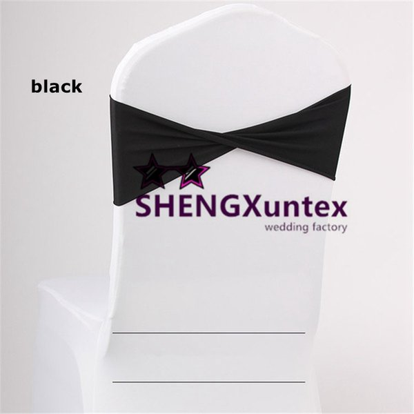BLACK Color Lycra Spandex Chair Band \ Chair Sash Bow For Wedding Chair Cover