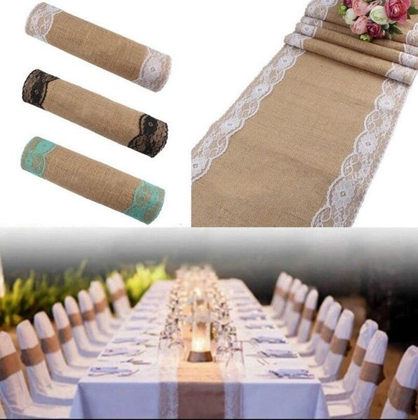 275X30CM Vintage Lace Burlap Linen Table Runner Hessian Table Runner Tablecloth Wedding Party Decor Tablecloth OOA2714