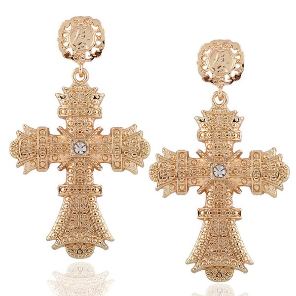 Baroque Gold Color Big Cross Earrings For Women Bohemia Jewelry Rhinestones Cross Dangle Earrings Pendants Bijoux