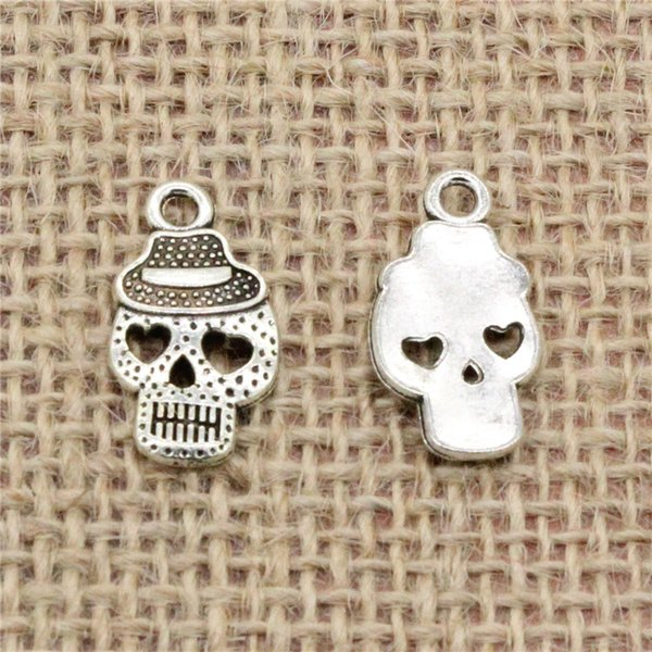Wholesale 90pcs Charms Tibetan Silver/Antique Bronze plated plates skeleton skull hat 21*12mm Pendant for Jewelry DIY Hand Made Fitting