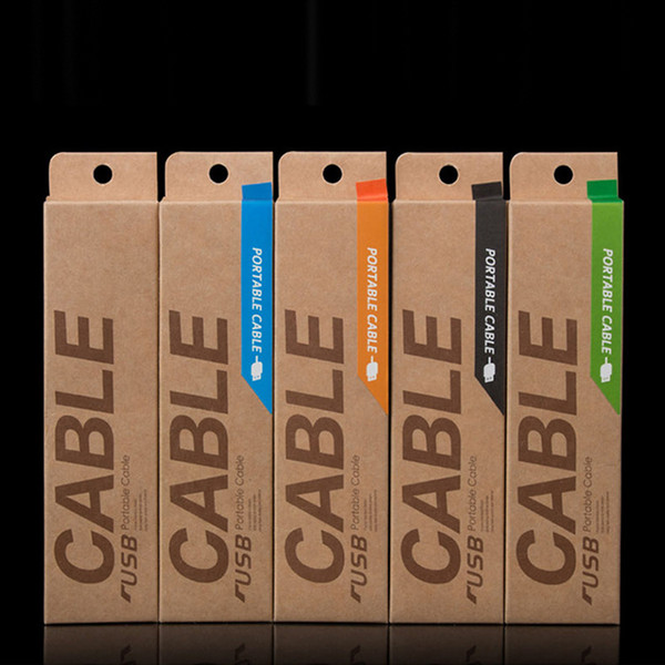 153*40*15mm Kraft Paper Retail Packaging Carton Box For 1m USB Charging Cables for iphone 6 Galaxy S4 S5 HTC Data Cable Package