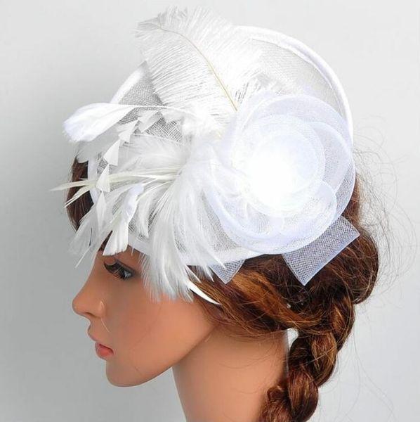 2019 Colorful Bridal Hats New Arrival Chapeau Mariage Elegant Flower Feathers Wedding Accessories for Bride cappelli da cerimonia