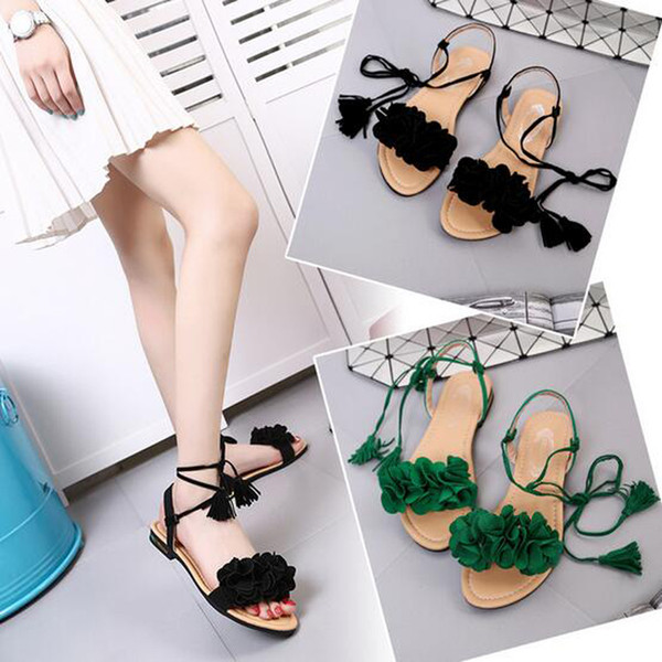 New Ladies Tassel Tie Sandals Scarpe estive piatte estate femminile basse Pantofole nere rosse verdi da donna