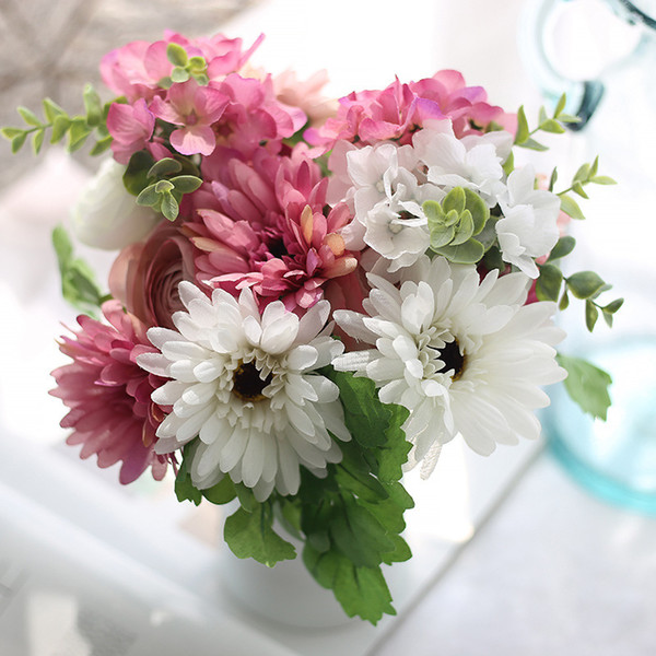 Artificial Silk Flowers Gerbera Bouquet Wedding accessories decoration Bridal Hydrangea Flower Home wedding decoration