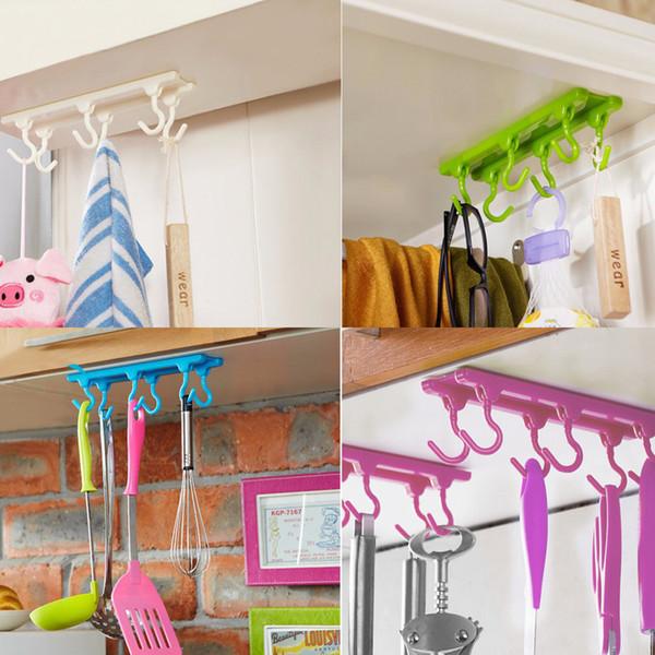 Al por mayor- 1 piezas de cocina armario gancho gancho de techo colgando ganchos de almacenamiento organizador en rack con pegamento adhesivo Traceless