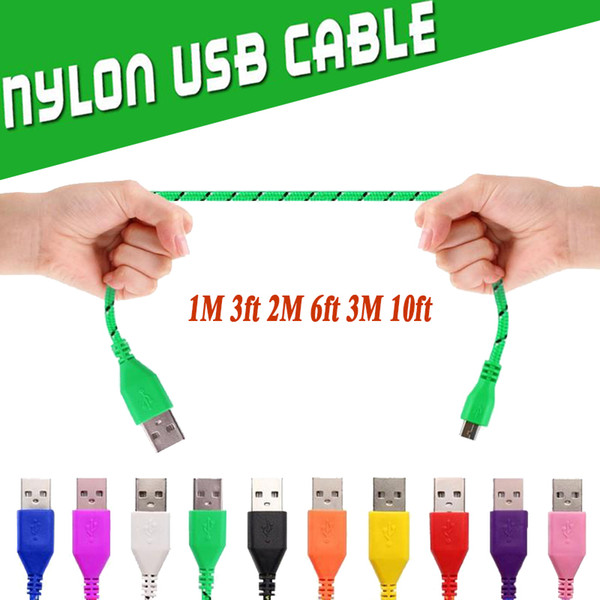 Nylon Braided Micro USB Cable Charging Adapter Sync Data High Speed Durable Fabric 1M 2M 3M Woven Cords For Phone XS Plus X 8 7 Samsung Sony