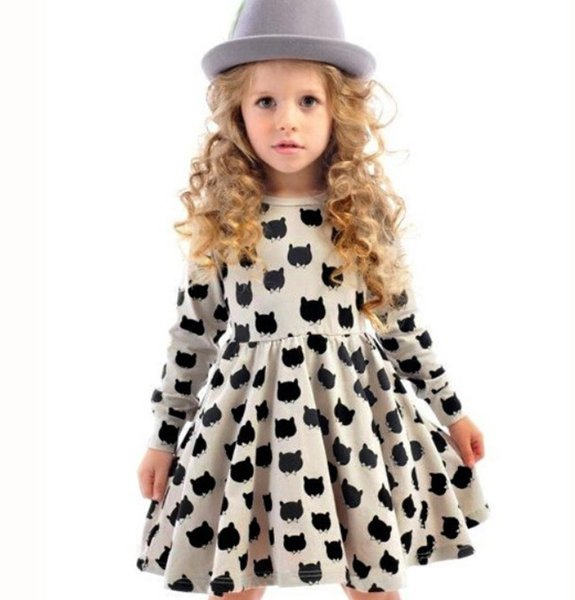 2017 2017 Hot Baby Girl Cat Dress Children Black Cat Long Sleeve ...
