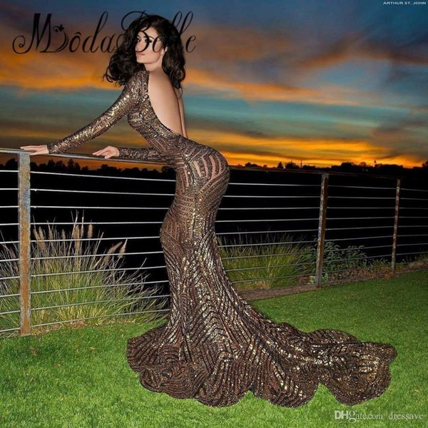 2K18 Sexy Open Back Bling Sequined Prom Party Dresses 2018 New Mermaid Long Sleeves Formal Wear Gowns For Evening Event