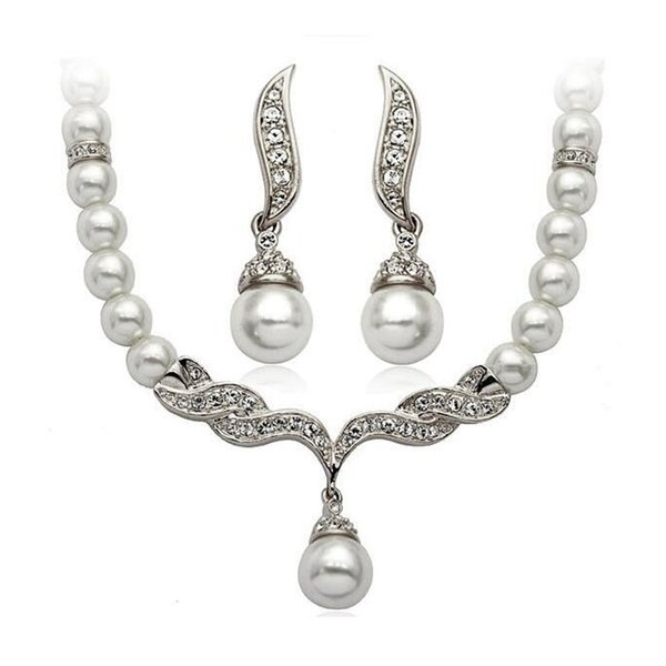 Silver Pearl Jewelry Sets New Fashion Wedding Party Necklaces Bracelets Earrings Set for Women Girl Wholesale Free Ship 0510WH