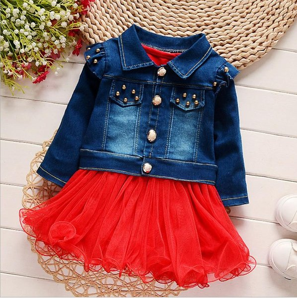 New Fashion Kids Baby Girls Dress Denim Coat Lace Skirt Wedding Princess Dress