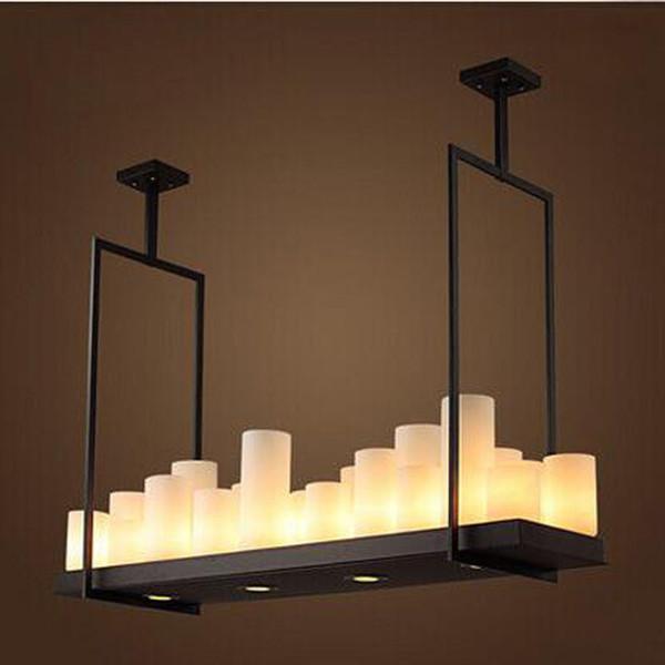 quality design 912a8 aee67 Modern Pendant Lamp Remote Control Chandelier Candle Light Fixture  Suspension Lamp Rectangular Wrought Iron Pendant Light Ceiling Pendants  Modern ...