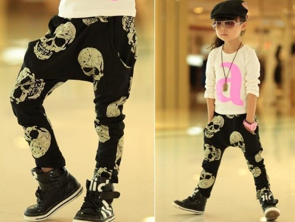 INS fashion cool skeleton boys kids pants harem PP pant trouser Halloween pre-school kids clothes outwear Autumn fall