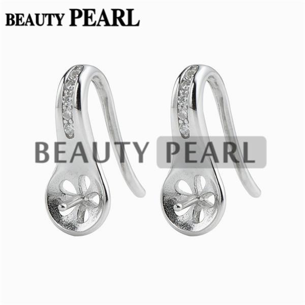 Earring Blanks 925 Sterling Silver with Cubic Zirconia Pearl Jewellery Findings Earwire 15*6mm Fishhook 5 Pairs