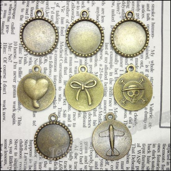 En gros Mix 200 pcs Vintage Charms Cadre Pendentif Antique bronze Fit Bracelets Collier BRICOLAGE En Métal Fabrication de Bijoux