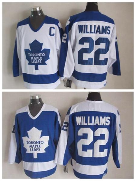 Vintage Toronto Maple Leafs Hockey Jersey 22 tigre Williams Vintage Classic Migliore qualità cucito ricamo Logo S-XXXL