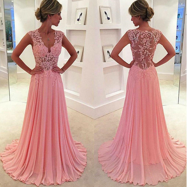 Formal Evening Gowns Pink V Neck Lace Chiffon Prom Dress A Line Sexy Transparent New Handmade Appliques Draped Custom Size Fashion