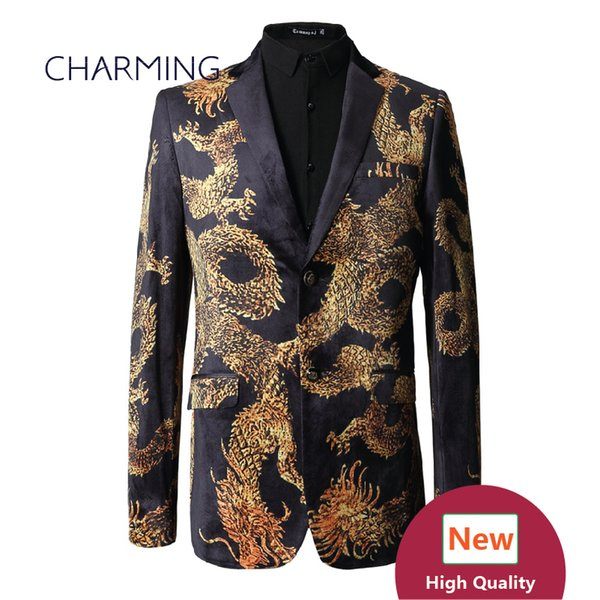 Chinese style golden dragon pattern Mens slim fit suits High quality 3D digital printing velvet fabric 1PCS wholesale wedding groom dress ma