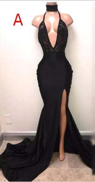 2017 encaje negro Vestidos de baile con Crystal Diamond Profundo Cuello en V Sin espalda Árabe Lado largo Corte de alta Vestidos de noche Alfombra roja por encargo