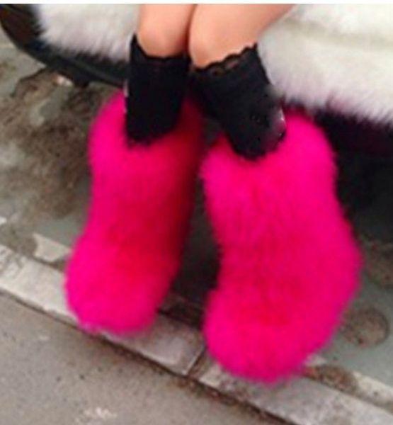 Venta al por mayor-Mujeres de invierno genuinas peludas de avestruz peludas pisos de piel peludos botas para la nieve de peluche botas de esquí al aire libre borrosas cálidas botas planas