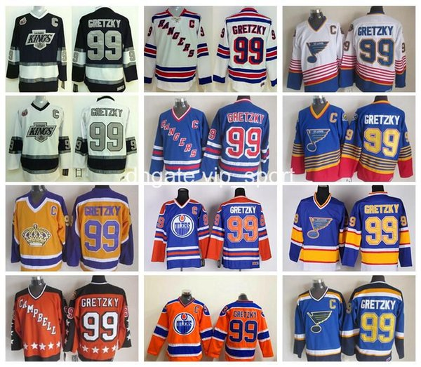 best selling Ice Hockey 99 Wayne Gretzky Jersey Men Rangers LA Kings Oilers St. Louis Blues Wayne Gretzky Jerseys All Star Blue White Red