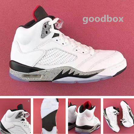 Beyaz çimento 5 s online Toptan İndirim basketbol ayakkabı Kutusu Ücretsiz kargo Ile Erkekler Boyutu 40-47
