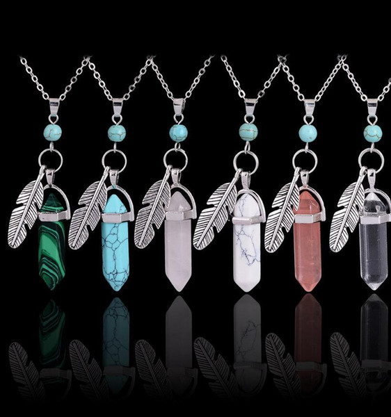 Hexagonal Column Healing Natural Stone Charms Bullet Necklace Leaf Leaves Feather Charms Wing Silver Chain Gem Beads Necklaces Jewelry