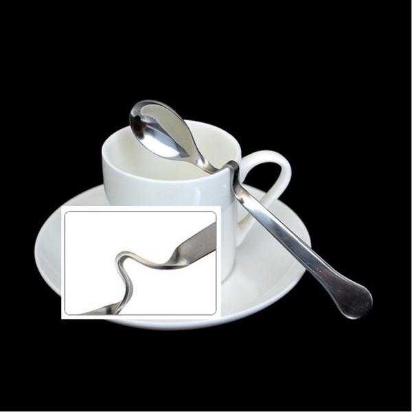 Flatware new Stainless steel Twisted handle Curved Tea Coffee Drink Condiment Spoon Teaspoon V handled Honey jam h64