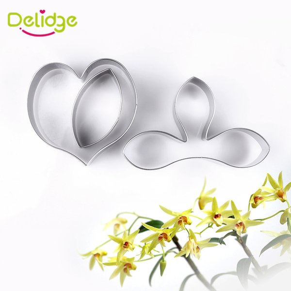 Delidge 3 pcs /lot Beautiful Flower Cake Mold Stainless Steel Dendrobium Flowers Peony Leaf Cookie Cutter Cake Decoration