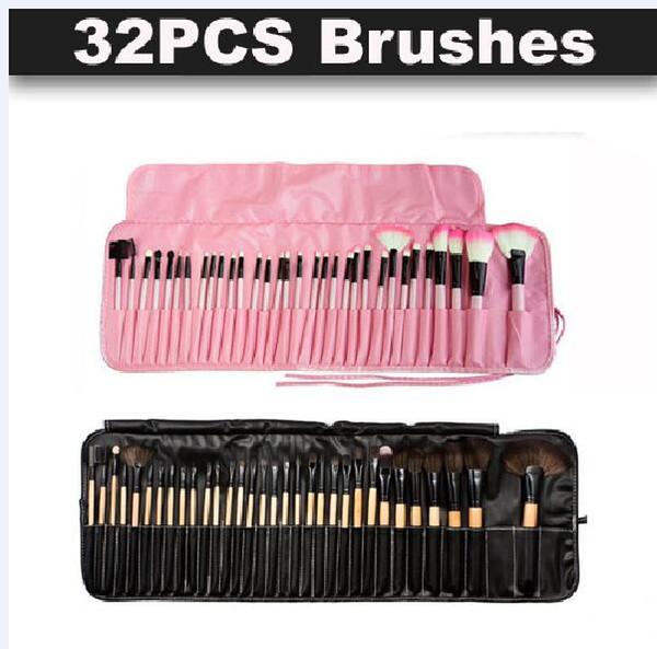 32pcs pinceaux de maquillage professionnel bois rose noir mini Set pinceau cosmétique Set Roll Up cas Eyeliner fard à paupières pinceau maquillage