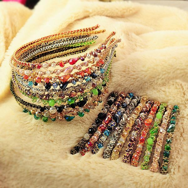 Korean Style Women Crystal hair band hair clip loop Colorful Noble crystal Headband Hairpin jewelry Fashion Hair Accessories