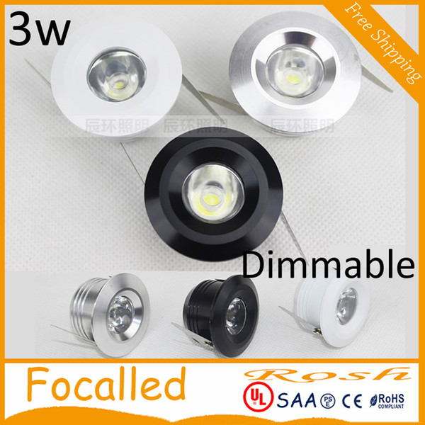 3W Mini LED downlight dimmable white round ceiling spot lights AC110V 220V Recessed Aluminum lamp Warm White 3000k CRI 85 CE UL