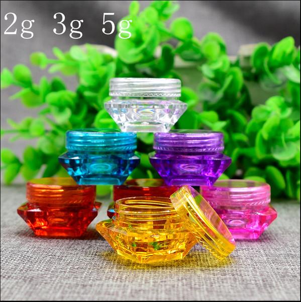 Venta al por mayor- Envío gratuito 2g 3g 5g Frasco de botella vacío de plástico Rosa claro Azul Gel de ojos Crema pequeña Barra de labios Muestra de envases de cosméticos vacíos