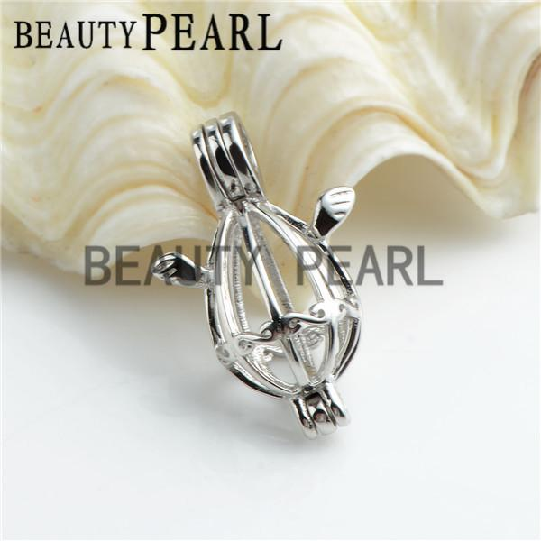 Bulk of 3 Pieces Small Locket Love Wish Pearl 925 Sterling Silver Jewellery Angel Wing Cage Pendant