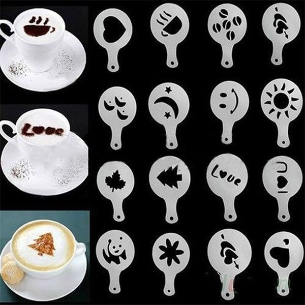 16Pcs Mold Coffee Milk Cake Cupcake Barista Stencils Template Cappuccino Template Strew Flowers Pad Duster Spray Tools