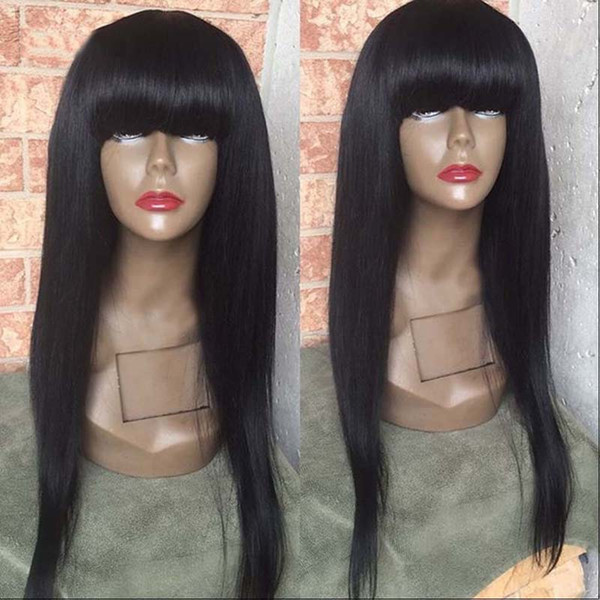 Full Lace Wigs With Big Bangs Virgin Brazilian Full Lace Human Hair Wigs For Black Women Straight Lace Front Wigs With Baby Hair