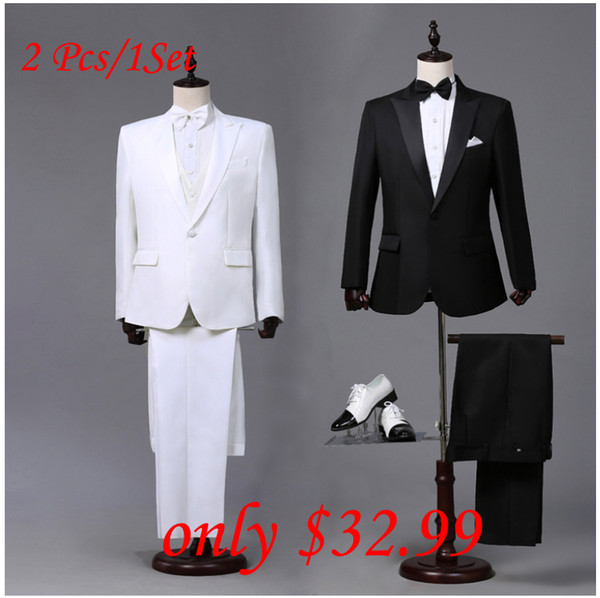 Wholesale- Custom made Mens Black White Suits Jacket Pants Formal Dress Men Suit Set men wedding suits groom tuxedos for men blazer