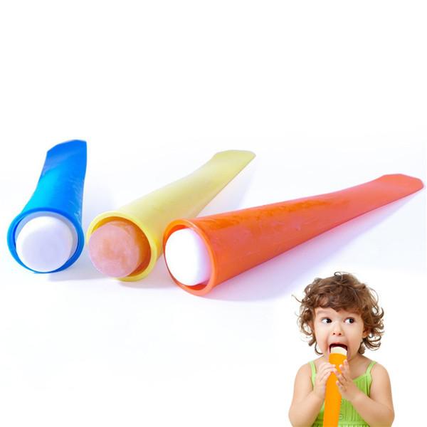 Silikon-Eis-Pop-Form Eis Ball Formen Eis am Stiel Form mit Deckel Eismaschine drücken Gelee Lolly Pop für Popsicle 15 * 3,5 cm