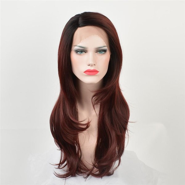 kabell Fashion lace front wigs Black Root deep red hair with two shades of wavy hair Big wave hairstyle wigs African American fashion wig