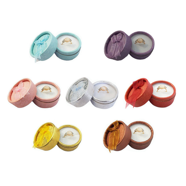 Wholesale 12Pcs Cute Small Round Paper Jewelry Display Ribbon Box 7 Color Available Ring Storage Organizer Display Gift Box 5*3.5 cm