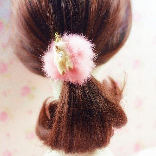 6pcs/lot fashion head wear plush teddy bear hair rope for women girls child crown animal elastic band hair rubber bands Christmas gift