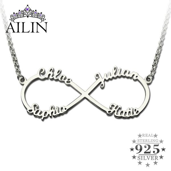 7cdea75f45 All'ingrosso- Collana infinita con nomi in argento Ciondolo infinito in  argento con 4
