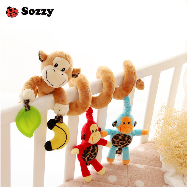 Wholesale- 1pcs Sozzy Musical Stars elephant Monkey Multifunctional Car bed Hanging Bed Bell Baby toys Educational Toys Rattles for Kids