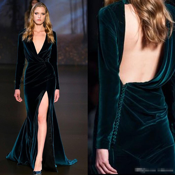 2017 Ralph & Russo Sexy Long Sleeve Bridal Evening Dresses Velvet Mermaid High Slit Monica Bellucci Occasion Wear Celebrity Prom Gowns