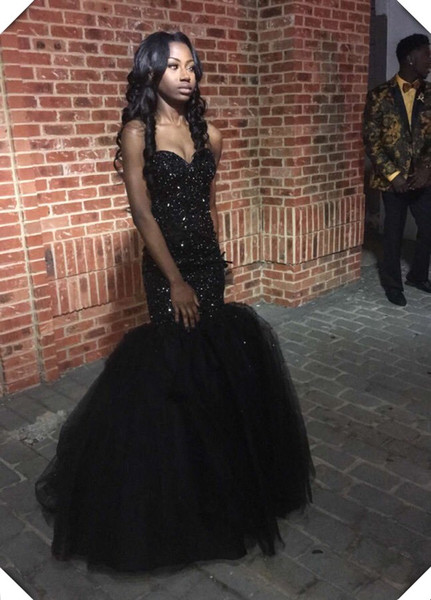 Sparkly Sequins Black Girls Mermaid Style African Prom Dresses 2017 Sweetheart Beaded Formal Dress Sexy Fitted Pageant Gowns Custom Made